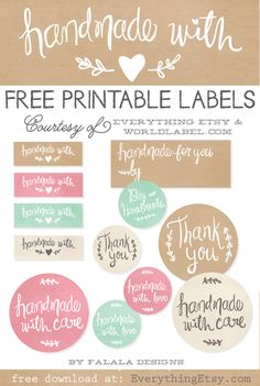 Adorn your handmade gifts with these Free Printable Handmade Gift Labels from Everything Etsy