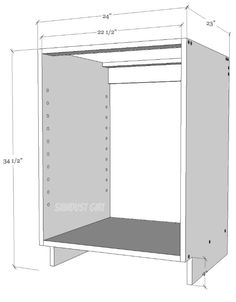 Kitchen Cabinets How to build a Kitchen Cabinet with butt joints and wood screws. - The easiest method for building kitchen cabinets is with butt joints and wood screws. The fasteners will be visible but that usually doesn't matter. Building Kitchen Cabinets, Diy Kitchen Cabinets, Kitchen Furniture, Diy Furniture, Kitchen Wood, Kitchen Cupboard, Kitchen Cabinets Measurements, How To Make Kitchen Cabinets, Kitchen Cabinet Dimensions