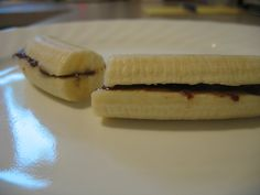 """new favorite pre-workout snack, banana & pb """"sandwich"""". I have been making this like a religion for about a year. It taste so good and you don't miss the bread at all. My husband even eats it now....cant believe I found a pin on this...haha wierd"""