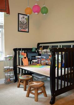 Repurposed Crib Becomes Craft Center - Top 30 Fabulous Ideas To Repurpose Old Cribs