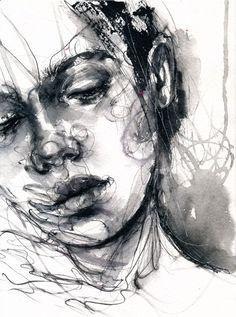 Dark Portrait, Portrait Art, Black And White Painting, White Art, Bipolar Art, Gcse Art Sketchbook, Portrait Sketches, Expressive Art, A Level Art