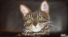Bengal Cat Custom Painted Leather Checkbook by daniellesoriginals, $18.95