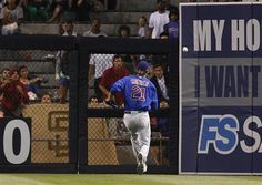 Game #112 8/6/12: Chicago Cubs right fielder Joe Mather cannot catch up to a double hit by San Diego Padres' Carlos Quentin during the fourth inning of a baseball game, Monday, Aug. 6, 2012, in San Diego. (AP Photo/Lenny Ignelzi)