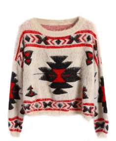 Ethnic Style Print Cropped Sweater with Batwing Sleeves
