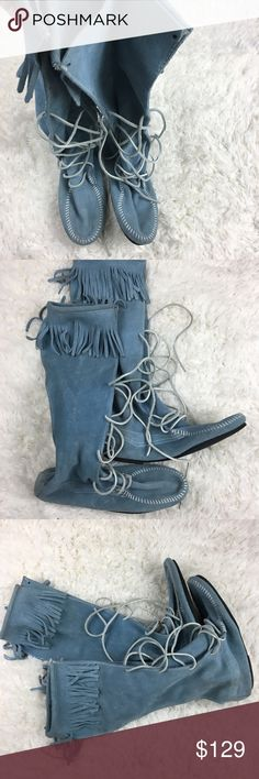Minnetonka Tall Lace Up Boot Rare baby blue tall suede moccasins have white leather laces, white stitching and fringe on top of shaft. In great condition. Minnetonka Shoes Moccasins