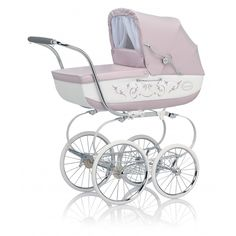 This is more charming than the typical strollers mostly used these days! Classic Pram with Diaper Bag - Pink & White Pink Prams, Baby Prams, Double Strollers, Baby Strollers, The Babys, Strollers At Disney World, Vintage Pram, Umbrella Stroller, Baby Carriage
