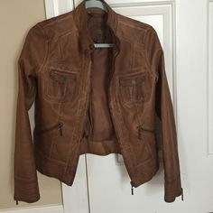 Faux leather jacket Xs- final price Great condition. Worn once. Fabulous quality! Sophie Max Jackets & Coats