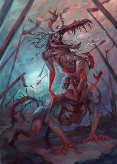Artist artwork drawings on artwork / digital art / photo's / drawings Dark Fantasy Art, Fantasy Artwork, Fantasy Demon, Demon Art, Fantasy Monster, Monster Concept Art, Monster Art, Dark Creatures, Fantasy Creatures