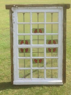 Vintage Leaded stained glass window Old Reclaimed