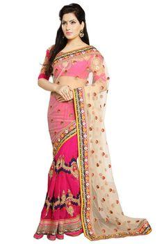 Remarkable Rani Pink and Beige Designer Saree