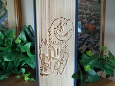 Folded Book Art, Jayhawks, Book Sculpture, Unique Gift, Gift for Him, Birthday Gift, Graduation, University of Kansas Fan - pinned by pin4etsy.com