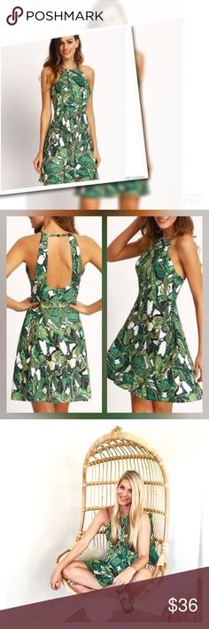 NWT Palm Print Backless Dress - Medium Brand NWT Palm Print Backless Dress in size Medium featured on Instagram Fashion Blig LiketoKNOW.it.  Season : Summer Pattern Type : Print Sleeve Length : Sleeveless Color : Green Dresses Length : Short Style : Vintage Material : Polyester Neckline : Spaghetti Strap Silhouette : A Line Bust(cm) : XS:92cm, S:96cm, M:100cm, L:104cm Waist Size(cm) : XS:72cm, S:76cm, M:80cm, L:84cm Dresses Mini
