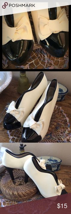 OOH! SO ADORABLE! TUXEDO HEELS these beauties were a gift to my daughter from her dad, but foot surgery and its results mean that she can't wear them now:( so, here they are, in wonderful condition, wanting a new home. all manmade materials, nearly new. Qupid Shoes Heels