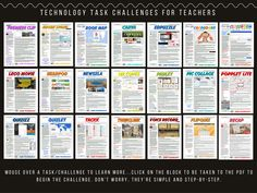 "Technology Task Challenges for Teachers. ""Ron curated a plethora of technology challenges that allow teachers to explore new tools, choose tasks that are of interest, and provides examples of authentic integration. Teaching Technology, Technology Integration, Educational Technology, Technology Tools, Library Skills, Library Lessons, Library Ideas, Art Lessons, Apps For Teachers"