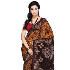 Golden Orange Cotton Bengal Handloom Saree with Blouse