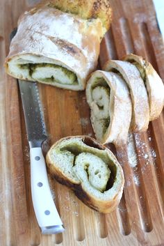 Fresh Pesto Bread ~ http://theitaliandishblog.com/imported-20090913150324/2011/7/24/pesto-bread.html