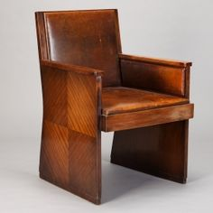 French Art Deco Macassar Chair with Leather Upholstery