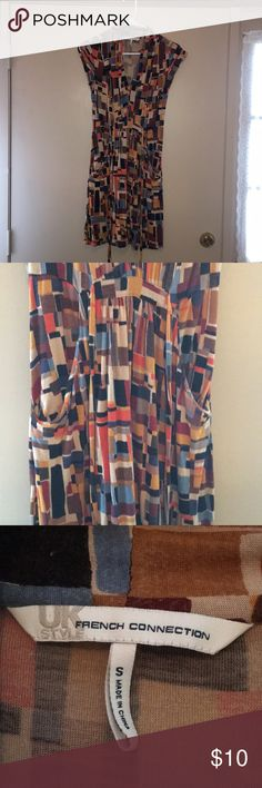French Connection Print Dress A Cute Print Dress By French Connection UK Style. Size: Small.  Condition: ❗️Used, Fabric Piling Throughout. Priced Accordingly👌🏻  Features: Not Lined, Front Ties, V Neck, & Has Front Pockets That Are Not Exactly Pockets Because They Don't Have Much Depth.   Material: 100% Rayon.  Care: Machine Wash Cold. French Connection Dresses