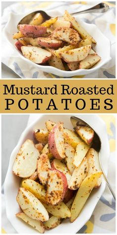 Easy whole grain Dijon Mustard Roasted Potatoes recipe from RecipeGirl.com