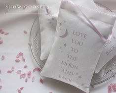 Love You to the Moon Lavender Bag in pink from www.snowgooseuk.com