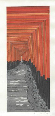 Teruhide Kato Japanese Woodblock Print Fushimi Shrine | eBay