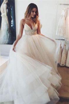 Charming Long Ivory Beaded Tulle A-line V-neck Elegant Wedding Dresses Z0169
