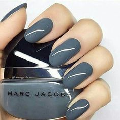In search for some nail designs and ideas for your nails? Here's our list of 37 must-try coffin acrylic nails for fashionable women. Cute Nails, Pretty Nails, Gray Nails, Blue Nail, Grey Nail Art, Round Nails, Nagel Gel, Nail Polish Colors, Polish Nails