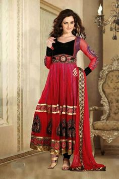 Red and Black Net Salwar kameez