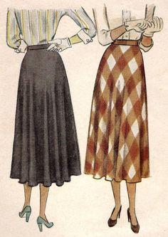 1940s Misses Flared Skirt