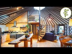 Yurt Living, Tiny House Living, Outdoor Living, Loft Staircase, Spiral Staircase, Yurt Loft, Wooden Yurts, Yurt Interior, House Beds
