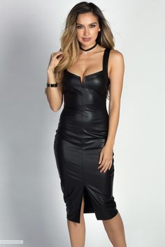 """Andrina"" Black Faux Leather Wet Look Bodycon Midi Dress - Babe Society Wet Look Dress, Pencil Skirt Work, Tight Dresses, Midi Dresses, Sexy Dresses, Latex Dress, Leather Dresses, Indian Beauty Saree, Hot Outfits"