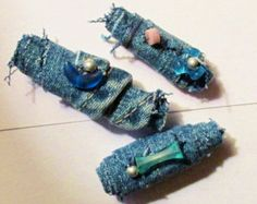 Recycled DENIM fabric beads with vintage beads