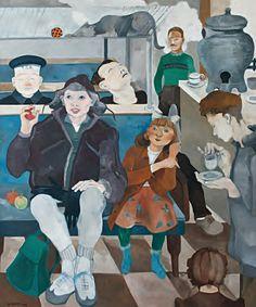 Neşe Erdok, Kadıköy Vapurunda Sabah, 180x150 cm, 1993 Urban Beauty, Bernard Shaw, Art Station, Mother And Father, Traditional Art, Watercolor, Drawings, Cats, Artist