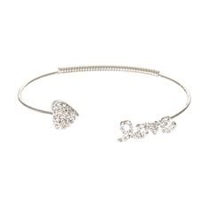Heart & Love Silver Crystal Arm Cuff | Claire's