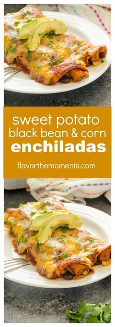 Sweet Potato, Black Bean, and Corn Enchiladas are hearty vegetarian enchiladas with a homemade 10 minute enchilada sauce and plenty of cheese. This is a great make-ahead meal for those busy weeknights! @Flavor the Moments