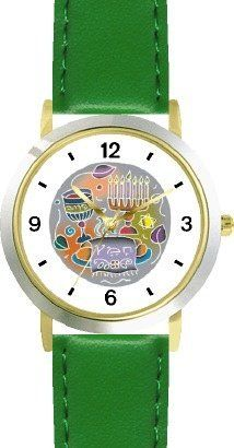 Shabbos or Sabbath Table Symbols Plate Judaica Jewish Theme - WATCHBUDDY® DELUXE TWO-TONE THEME WATCH - Arabic Numbers - Green Leather Strap-Children's Size-Small ( Boy's Size & Girl's Size ) WatchBuddy. $49.95. Save 38%!