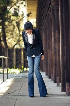 blazer and flared jeans
