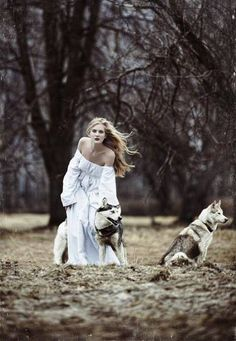 A woman and her wolves. Spiritual animals.