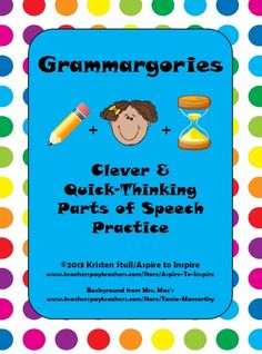Looking for an entertaining and challenging grammar activity for your students to apply their knowledge of parts of speech? Grammargories is the perfect activity! Based on the game Scattergories, students try to beat the clock as they complete lists with parts of speech related to the lists' themes.