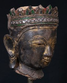 18th century Shan Buddha head from Burma, made from lacquer