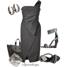 DONNA KARAN Anthracite Structured Origami Bustier Dress by arjanadesign on Polyvore