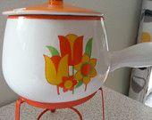 Vintage stone ware pot with stand warmer retro fondue mid-century kitchen by RetrospectiveResale on Etsy, $15.00 USD