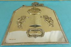 Superb Sterling Silver Judaica Torah Plate Shield Crown Lions FLuted Taite 1964