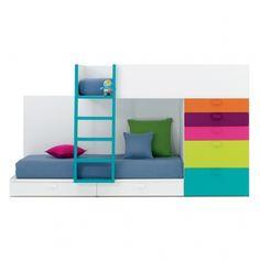 Letto a castello con cassetti e cassettiera laterale/bunk bed with side and bottom drawers