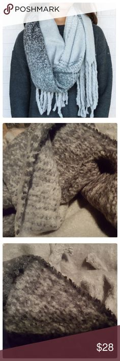 "JUST IN: ULTRA SOFT Gradient Blanket Scarf This scarf is unbelievably soft to the touch. You will want to wrap yourself in it and hibernate for the winter! Great neutral shades of gray in a dark to light gradient with tassels. 100% acrylic.  Aprox: 18"" x 83"". Brand new condition. Accessories Scarves & Wraps"