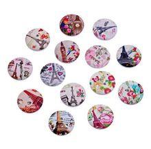 10 unids wholesale sortea torre de estilo europeo de madera botones de costura 20 mm accesorios de vestir(China (Mainland))
