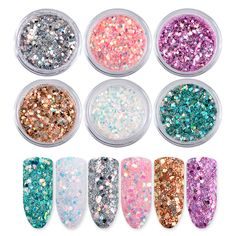Laser Mixed Nail Glitter Powder Sequins Shinning Colorful Nail Flakes DIY Charm Dust For Nail Art Decorations Specification: new retail Weight: Material: Sequins Color: Silver/Pink/Purple/Gold/White/Green Package Contents: Nail Sequins Set How to use: Rainbow Nail Art, Water Nails, Shiny Nails, Glitter Nail Art, Holographic Glitter, Glitter Crafts, Glitter Makeup, Nail Accessories, Powder Nails