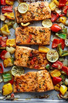 Sheet Pan Chili Lime Salmon. Yummy sauce! I would cut back on the red pepper flakes bough.