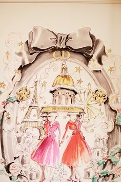 Dior Christmas Window Display at Printemps in Paris ~ The Cherry Blossom Girl Inspiration Artistique, Tout Rose, Cherry Blossom Girl, I Love Paris, Paris Style, Perfume, Fashion Sketches, Fashion Illustrations, Vintage Advertisements