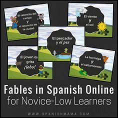 10 Fábulas for novice-low Spanish learners, that use high-frequency vocabulary and build upon one another. These fables are perfect for when you need some comprehensible input.